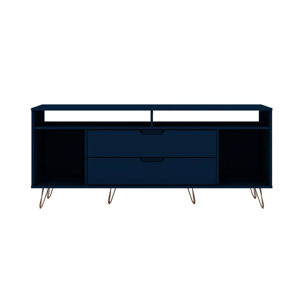 Manhattan Comfort Rockefeller 63 In Tatiana Midnight Blue Composite Tv Stand Fits Tvs Up To 60 In 130gmc4 The Home Depot