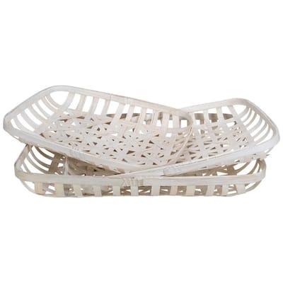 White Rectangular Lattice Tobacco Table Top Baskets (Set of 3)