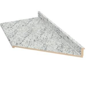 10 ft. Cream Laminate Countertop With Right Miter and Eased Edge in White Ice Granite Etchings