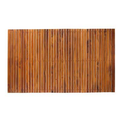Oiled Extra Large Teak Indoor and Outdoor String Mat with Rubber Footing 59 in. x 35 in.