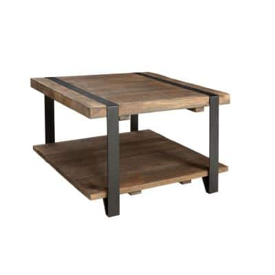 Modesto 27 in. Rustic/Natural Medium Square Wood Coffee Table with Shelf