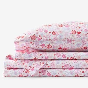 Company Kids Flower Shower 4-Piece Multicolored Floral 200-Thread Count Organic Cotton Percale Queen Sheet Set
