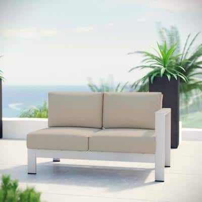 Shore Aluminum Right Arm Outdoor Sectional Chair Loveseat in Silver with Beige Cushions