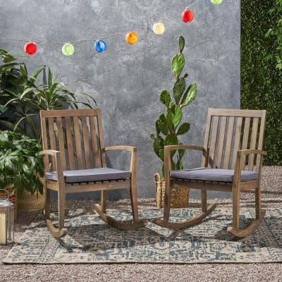 Montrose Grey Acacia Wood Outdoor Patio Rocking Chair with Dark Gray Cushions (2-Pack)