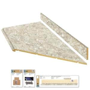 8 ft. Beige Laminate Countertop Kit With Right Miter and Full Wrap Ogee Edge in Spring Carnival Granite