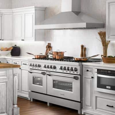 60 in. 7.4 cu. ft. Dual Fuel Range with Gas Stove and Electric Double Oven in DuraSnow with Brass Burners