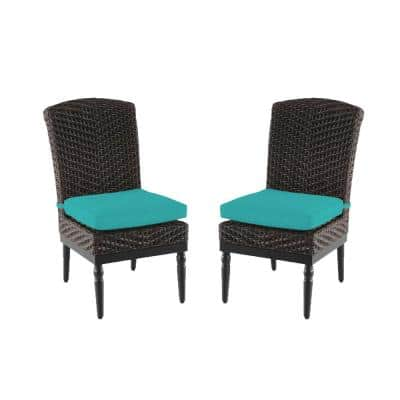 Camden Dark Brown Wicker Outdoor Patio Armless Dining Chair with CushionGuard Seaglass Turquoise Cushions (2-Pack)