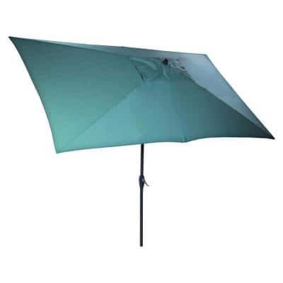 10 ft. x 6 ft. Aluminum Market Patio Umbrella in Emerald Coast with Push-Button Tilt