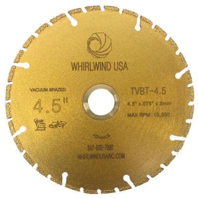 4.5 in. 32-Teeth Segmented Diamond Blade for Dry or Wet Cutting Metal and Plastic Materials