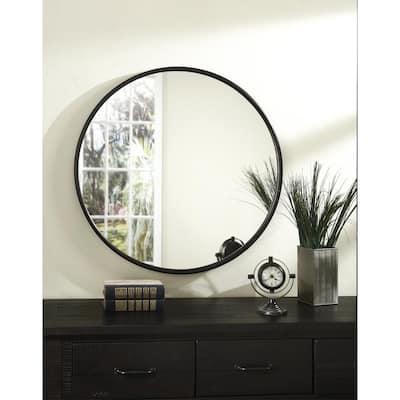 Medium Round Oil Rubbed Bronze Hooks Modern Mirror (30 in. H x 30 in. W)