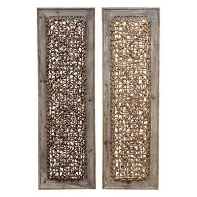 12 in. x 38 in. Global Inspired Abstract Natural Sea Grass Weave Wall Panels (2-Pack)