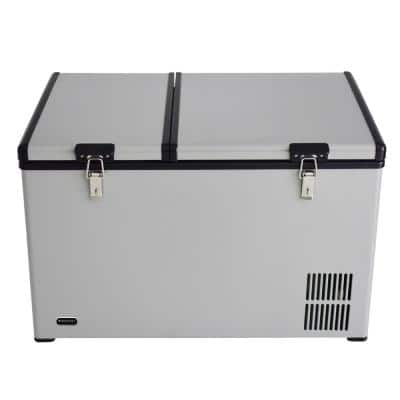 90 Quart Dual Zone Portable Fridge/Freezer with 12V Option and Wheels