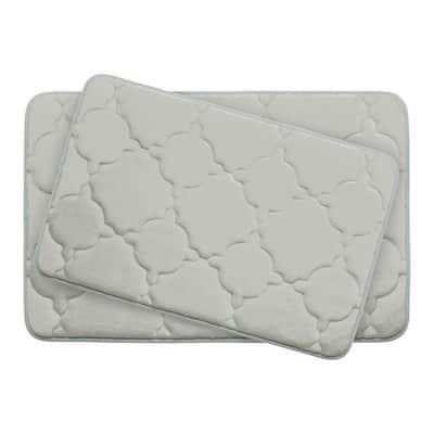 Dorothy Light Gray Memory Foam 2-Piece Bath Mat Set
