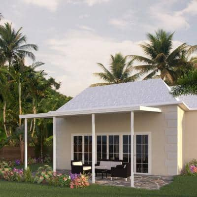 22 ft. x 10 ft. White Aluminum Attached Solid Patio Cover with 4 Posts (20 lbs. Live Load)