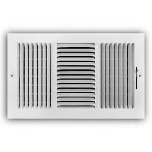 14 in. x 8 in. 3-Way Steel Wall/Ceiling Register in White