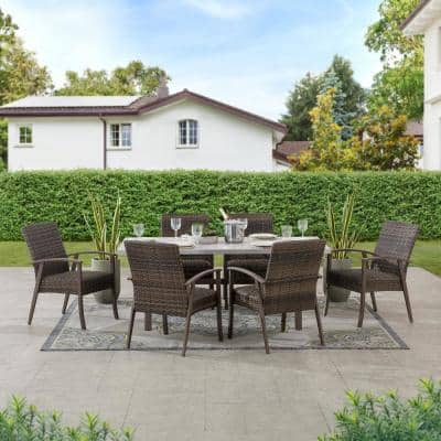 SummerCove Brown 7-Piece Wicker Ralston Steel Outdoor Patio Dining Set with Padded Seat