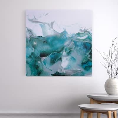 Mint Bubbles Modern Canvas Wall Art