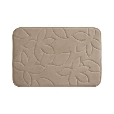 Blowing Leaves Linen 17 in. x 24 in. Memory Foam Bath Mat