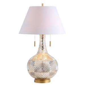 Highland 30.75 in. Gourd Glass LED Table Lamp, Mercury Silver/Gold