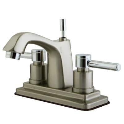 Concord 4 in. Centerset 2-Handle Bathroom Faucet in Chrome and Brushed Nickel