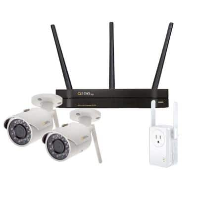 4-Channel 3MP 1TB Wi-Fi Surveillance NVR with 2 Wi-Fi IP Pro Cameras and Wi-Fi Extender