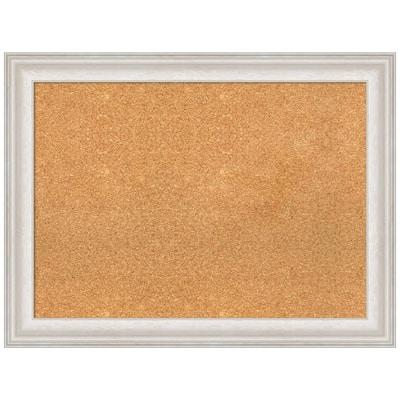 Trio White Wash Silver 32.38 in. x 24.38 in. Framed Corkboard Memo Board