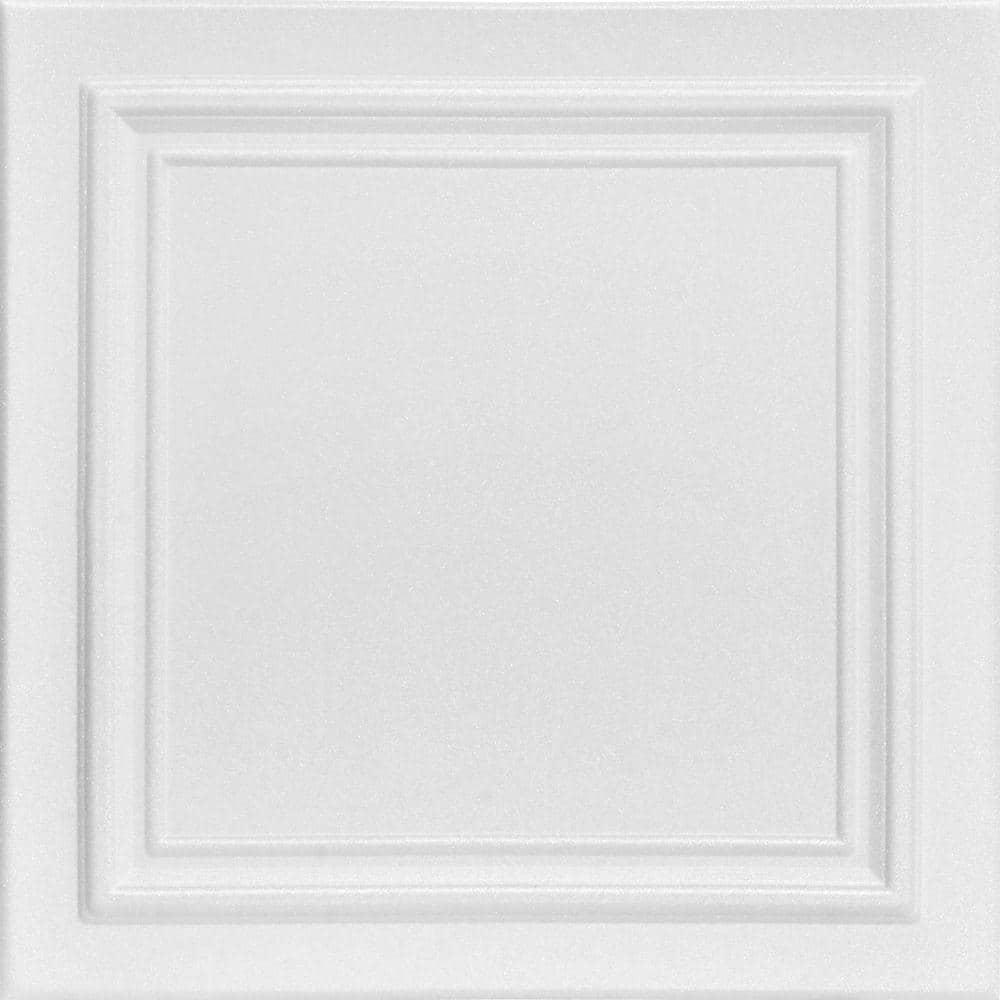 A La Maison Ceilings Line Art 1 6 Ft X 1 6 Ft Glue Up Foam Ceiling Tile In Plain White 21 6 Sq Ft Case R24pw 8 The Home Depot