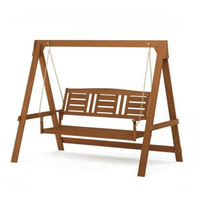 Tioman 3-Person Hardwood Porch Swing with Stand