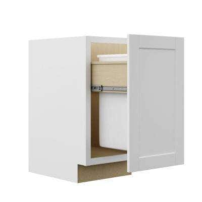 Shaker Satin White Stock Assembled Pull Out Trash Can Base Kitchen Cabinet (18 in. x 34.5 in. x 24 in.)