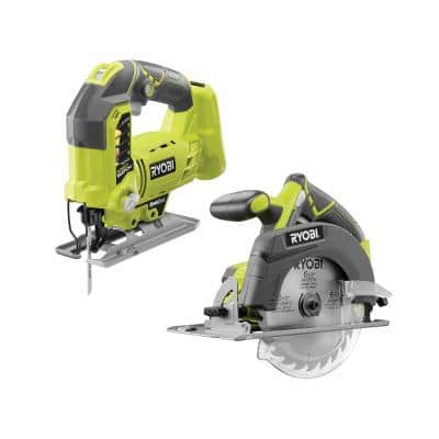 ONE+ 18V Lithium-Ion Cordless 6-1/2 in. Circular Saw and Orbital Jig Saw (Tools Only)