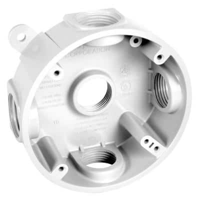 4 in. Round Weatherproof Box with Five 1/2 in. or 3/4 in. Outlets