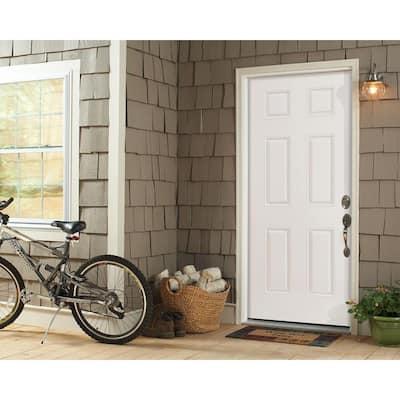 32 in. x 80 in. Premium 6-Panel Right-Hand Inswing Primed Steel Prehung Front Exterior Door with Brickmold