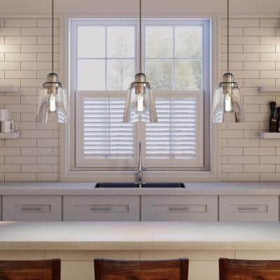 Melton 1-Light Polished Nickel Pendant with Clear Glass Shade and Silver Cord