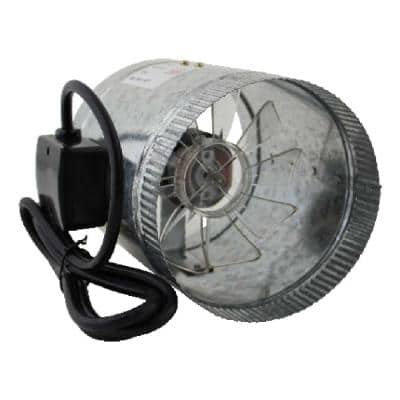 HomeAire IDF-6 135 CFM 6 in. Inlet and Outlet Inline Duct Booster Fan in Galvanized Steel Housing