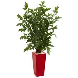 Indoor 4.5 ft. Fishtail Artificial Palm Tree in Red Planter
