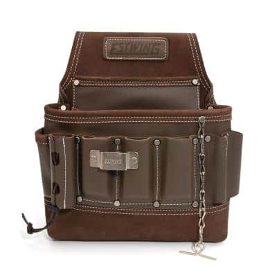 8-Pocket Leather Electrician/Tradesman's Tool Belt Pouch