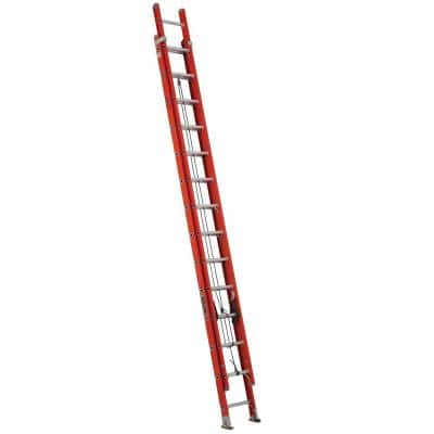 28 ft. Fiberglass Extension Ladder, 300 lbs. Load Capacity Type 1A Duty Rating, with Ladder Levelers