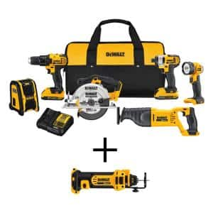20-Volt MAX Cordless Combo Kit (6-Tool) with (2) 20-Volt 2.0Ah Batteries & Cordless Cut-Out Tool