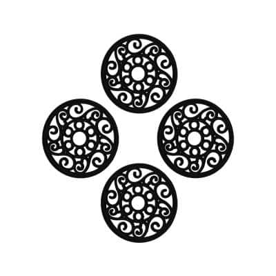First Impression 12 in. x 12 in. Black Rubber Garden Stepping Stone Non-Skid (Set of 4)