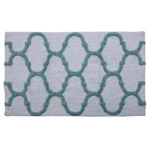24 in. x 17 in. and 34 in. x 21 in. 2-Piece Cotton Bath Rug Set in White and Arctic Blue