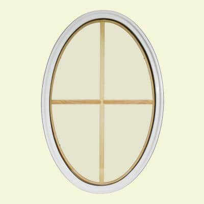 24 in. x 36 in. Oval White 6-9/16 in. Jamb 3-1/2 in. Interior Trim 4-Lite Grille Geometric Aluminum Clad Wood Window