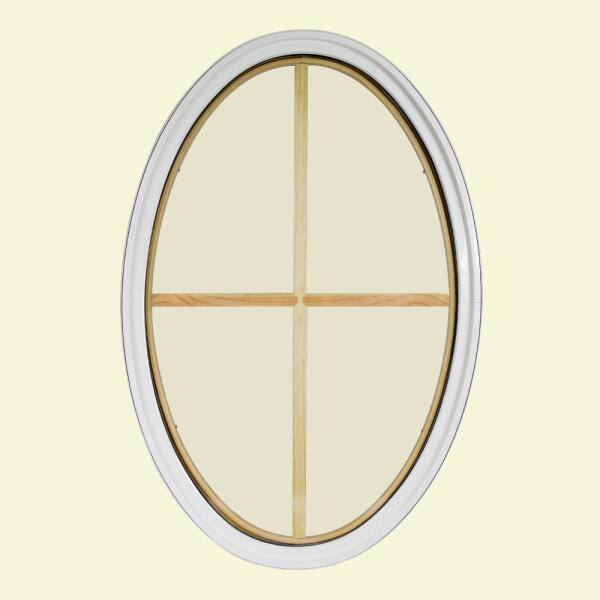Frontline 30 In X 48 In Oval White 4 9 16 In Jamb 2 1 4 In Interior Trim 4 Lite Grille Geometric Aluminum Clad Wood Window 3048ov44lig2twh The Home Depot