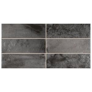 Kings Raku Black 15-3/4 in. x 7-7/8 in. Ceramic Wall Tile (10.71 sq. ft./Case)