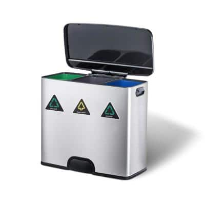 Silver Stainless Steel 3-Section Recycling Bin