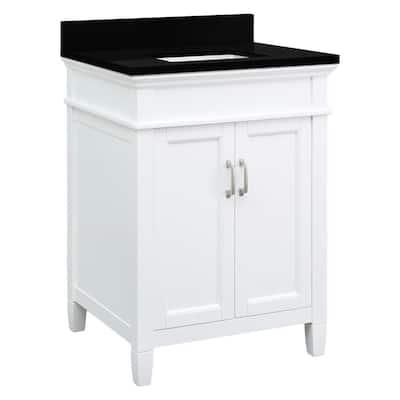 Ashburn 25 in. W x 22 in. D Bath Vanity in White with Granite Vanity Top in Midnight Black with Trough White Basin