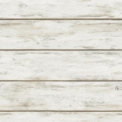 White Washed Plank Peel and Stick Wallpaper