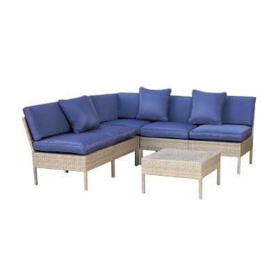 6-Piece Metal Outdoor Sectional Set with Blue Cushions