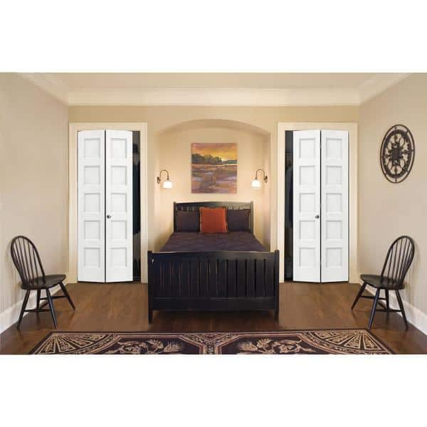 Jeld Wen 36 In X 80 In Conmore White Paint Smooth Hollow Core Molded Composite Interior Closet Bi Fold Door Thdjw236700003 The Home Depot