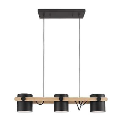 Hornwood 3-Light Black/Wood Linear Pendant with Black/White Metal Shades