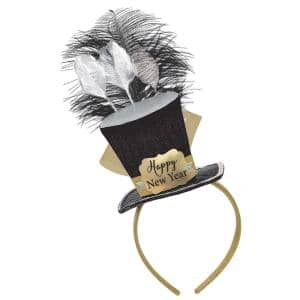 New Year's 10 in. Black, Silver and Gold Top Hat Fascinator (2-Pack)